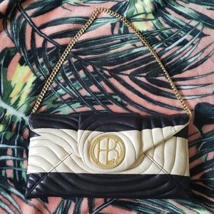 HENRI BENDEL Quilted Beige Black Handbag